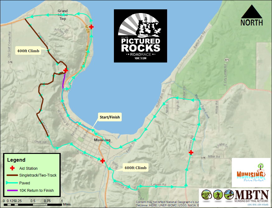 Routing - Both routes are shown on the map. Click the map to see an enlarged view. Note the purple return for the 10K run.