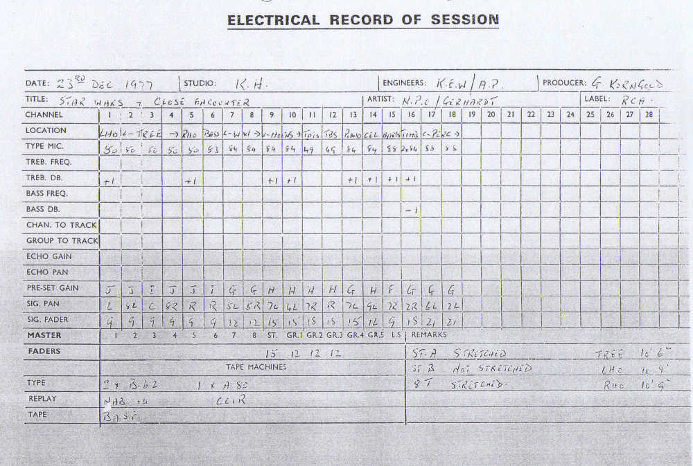 Decca RCA Session Log Star Wars