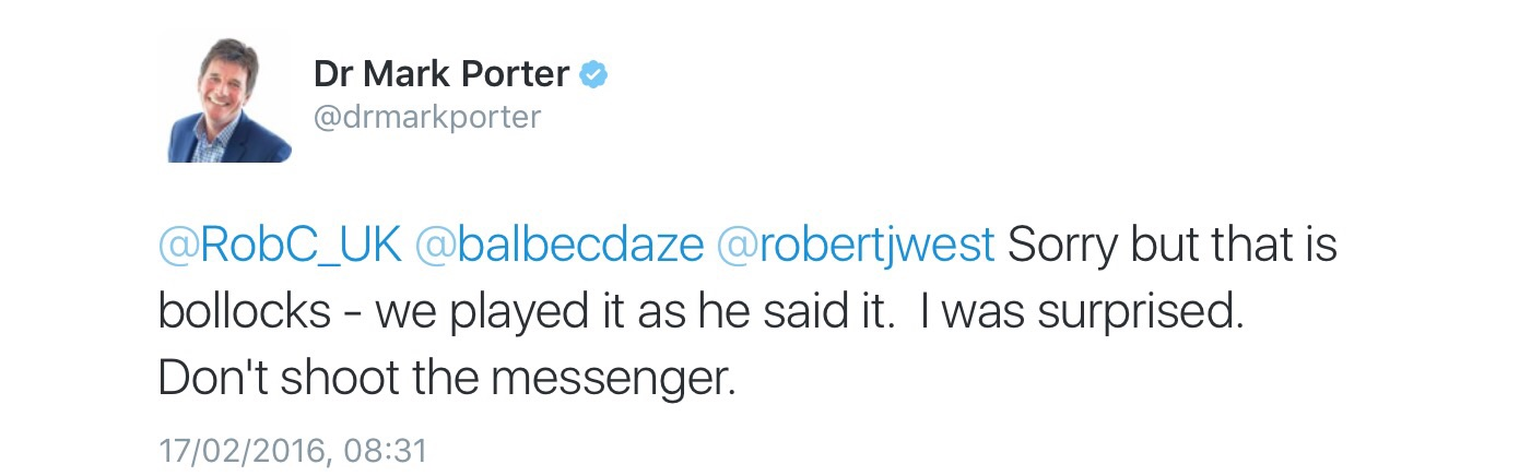 In answer to a tweet expressing disappointment and what Robert was perceived to have said