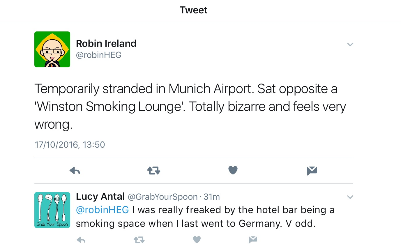 """Robin posted this earlier... cos having somewhere smokers can go that isn't mixed with """"the public"""" is """"bizarre"""""""