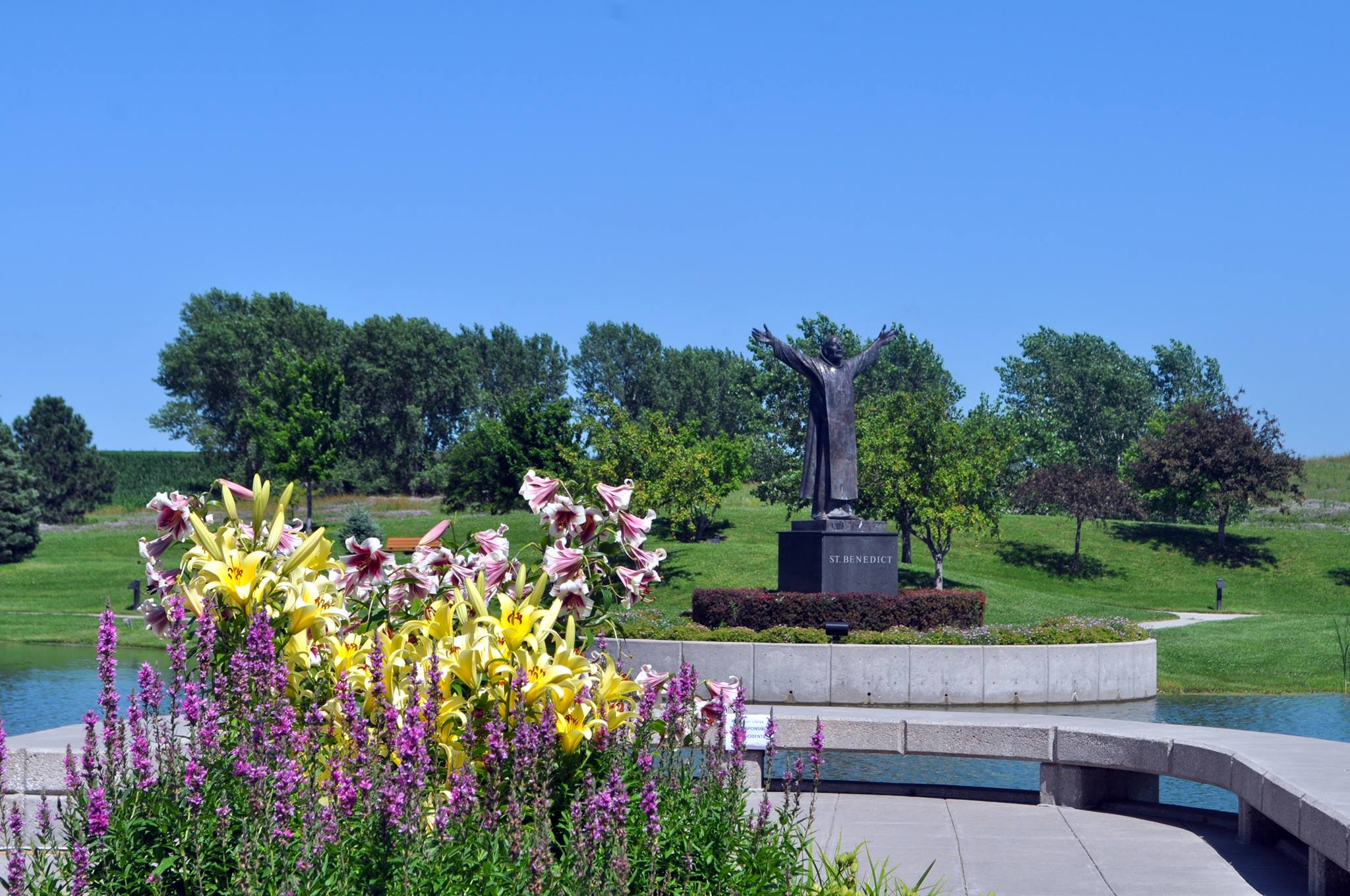 Lilies and Benedict Statue.jpg