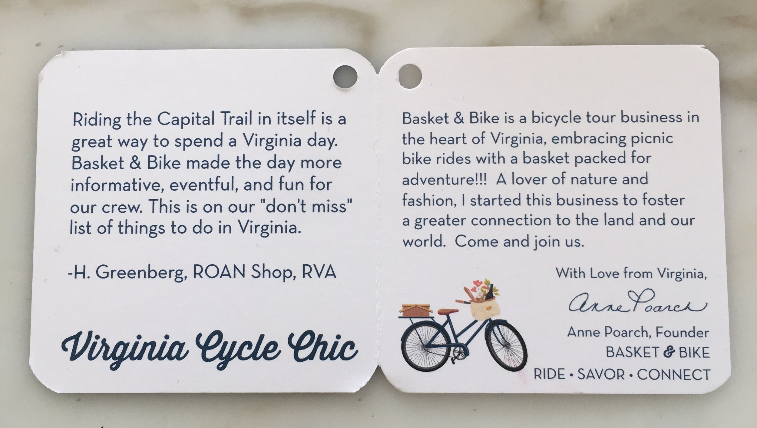Sharing a little Basket & Bike and Virginia love this sweet hangtag will adorn all the ties.