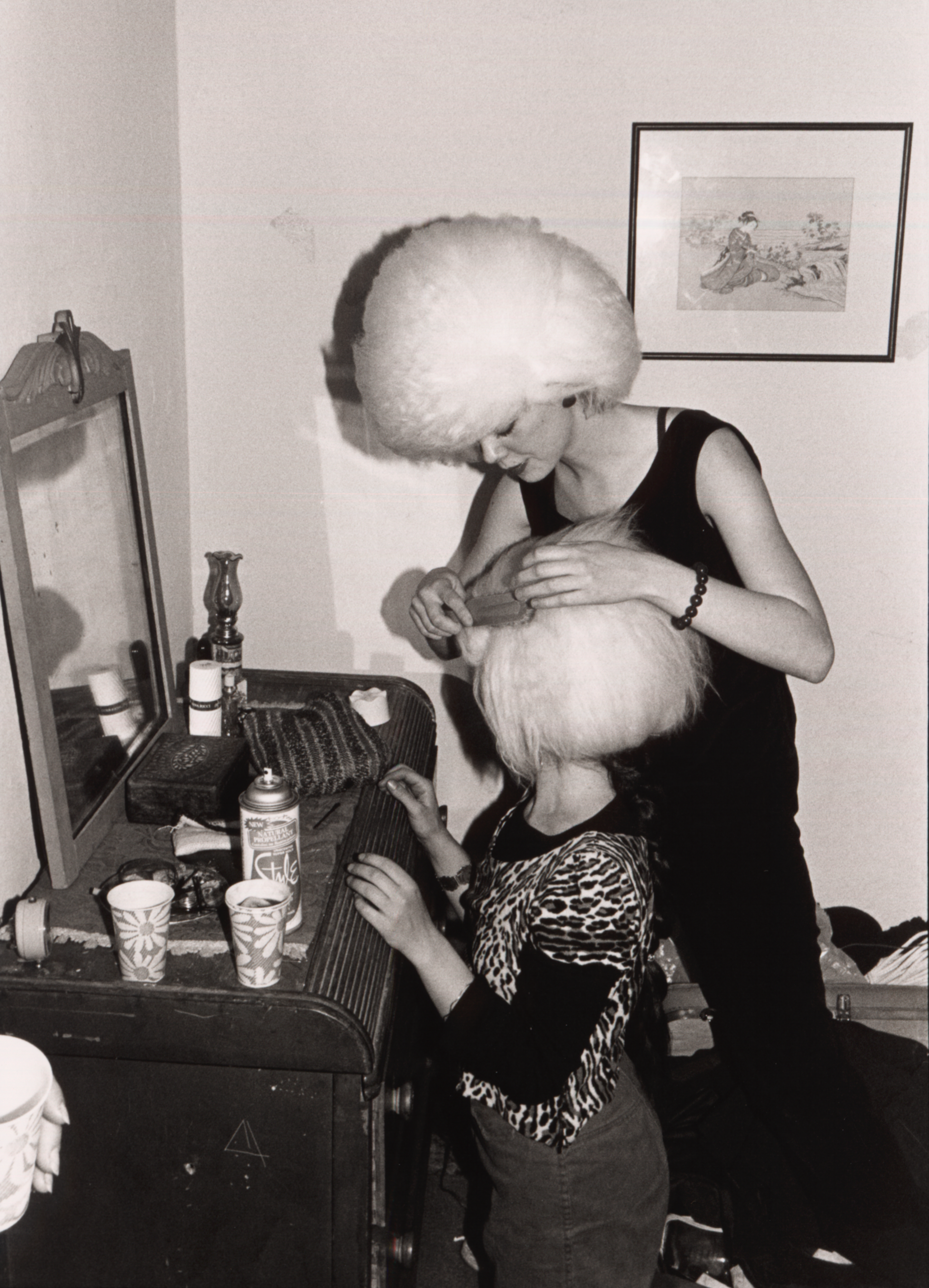 Cindy Wilson + Kate Pierson getting ready for the first show, 1977 by Kelly Bugden