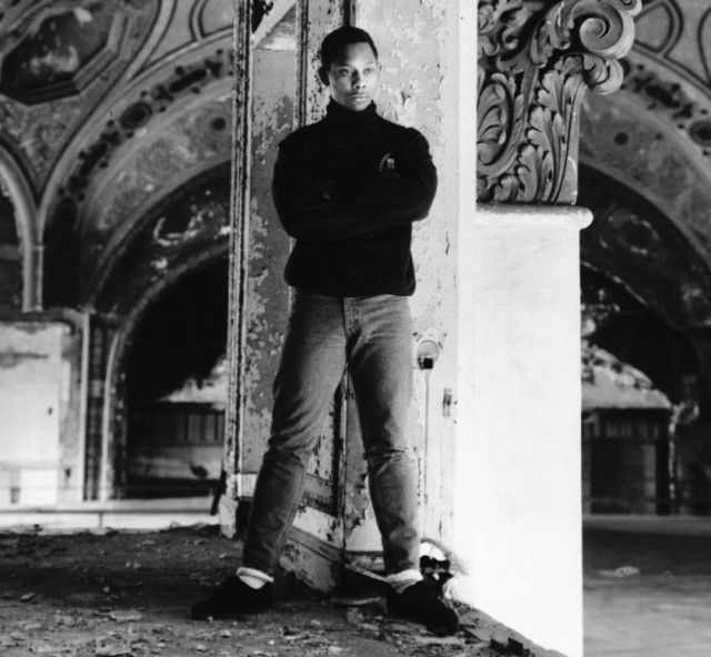 Derrick May in the Michigan Theatre parking garage, 1988. Photo by Bart Everly. Reproduced courtesy  Wax Poetics
