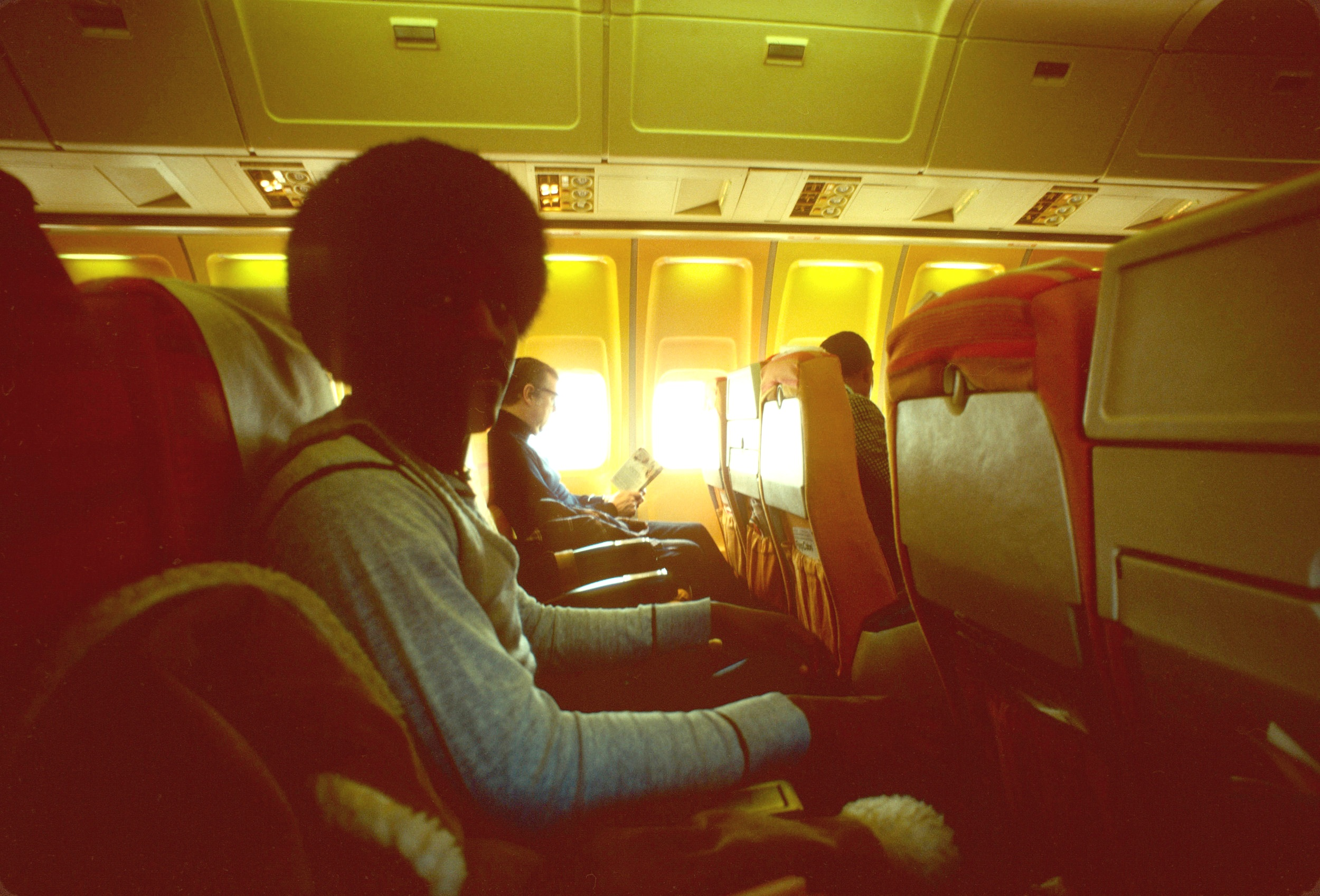 Vance Hawthorne, Hilltop features editor, on the flight to Lagos, Nigeria and Festac '77.