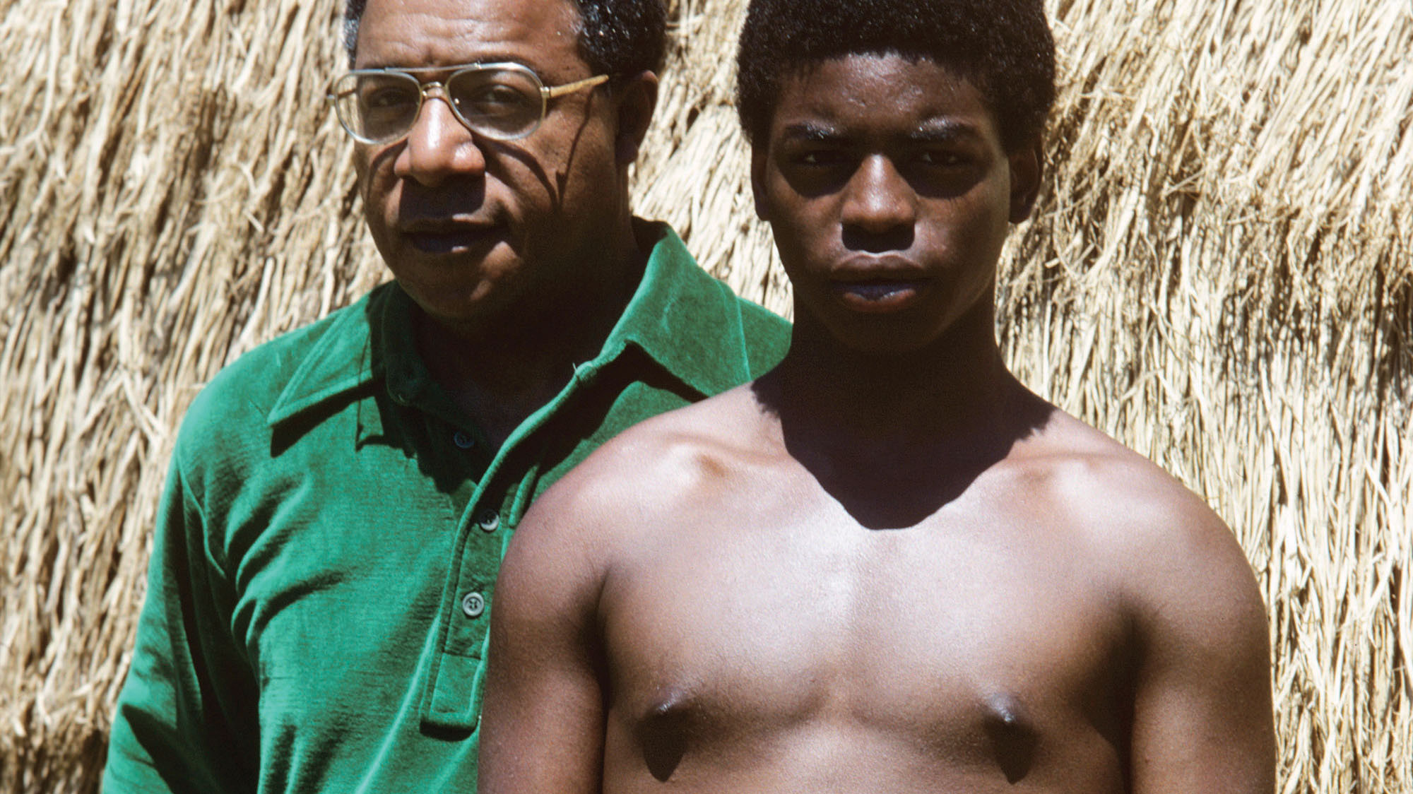 Alex Haley and LeVar Burton during the filming of Roots.