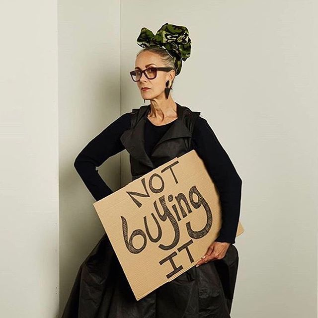 'Fashion and identity commentator, professor Caryn franklin MBE @franklinonfashion is wearing dress by `Asia Pritarska, @asia.apologia.przytarska graduate of Glasgow School of Art made from found and discarded materials.' ⠀ 'I'm signing up to use what I have in my wardrobe, support only small ethical business or second hand business and mend and darn my clothes. Large chains supporting over-paid CEOs who take it for granted that they can continue to pollute, exploit, over-produce and under-pay are operating on borrowed time. I've always loved self-styling and always enjoy making a fashion statement. Here's another one... NOT BUYING IT.' . . . 'As part of #XR52weeks of direct action, we urge people to #BoycottFashion for a whole year. In 2017, a report by the Ellen MacArthur Foundation found that if the global fashion industry continues on its current growth path, by 2050, it could use more than a quarter of the world's annual carbon budget associated with 2 degrees of warming... and yet, the industry continues to grow.  To avoid catastrophe, we must disrupt it.  Join the people signing our pledge to boycott fashion for 52 weeks, by visiting @xr.boycottfashion XRFASHIONBOYCOTT.COM' . . . #ActNow #smallethicalbusiness #secondhand #mendit #darnit #extinctionrebellion#climatechange #fashion #sustainablefashion #globalwarming #sustainableliving #climateactionnow#rebelforlife #choosefuture #timetoact#takeaction #futuregeneration #climateactivism #uk #europe #worldwide #stopconsuming #gretathunberg #friendsoftheearth #greenparty  Photo by @sarahcresswellphoto reposted from @extinctionrebellion & @xr.boycottfashion