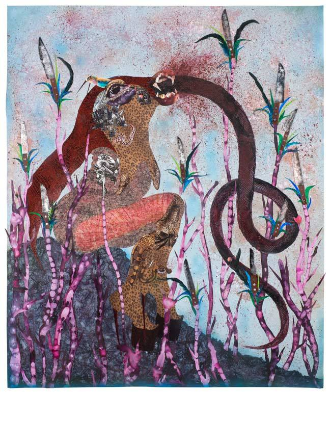 "anotherafrica :     Wangechi Mutu Takes On Transmutation As a New Form of Existentialism   On the eve of Wangechi Mutu's solo show, 'Nguva na Nyoka' (Sirens and Serpents) opening this October 14 2014 at London's Victoria Miro gallery, the artist shared candid thoughts and insights on her latest body of work with Another Africa's Joyce Bidouzo-Coudray much like what inspired her to delve into Kenya's rich folkloric mythologies:     ""The fact that women have this option to turn into these myths, these powerful, indefinable creatures – especially in a place like the coast of Kenya where the traditionally patriarchal cultures of the African Mijikenda tribes prevail – is such a testament to all the possibilities of what a woman can do in a place where she is not actually permitted to do much. That is completely inspiring to me also as an artist. So that is why I dug into it.""        Wangechi Mutu     Source 
