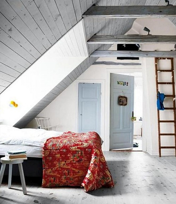 herdofblack :     In need of some attic inspiration! Helping my boyfriend transform his attic bedroom into something of the sorts of rustic/Scandinavian attic space.   Here they've used their whites well!