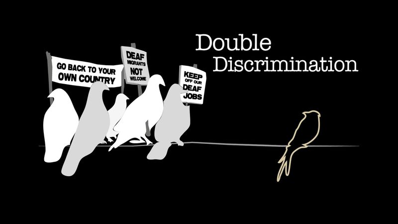 "Double Discimination poster: drawing of white and grey doves holding picket signs that say things like ""go back to your own country"" and face towards black bird."