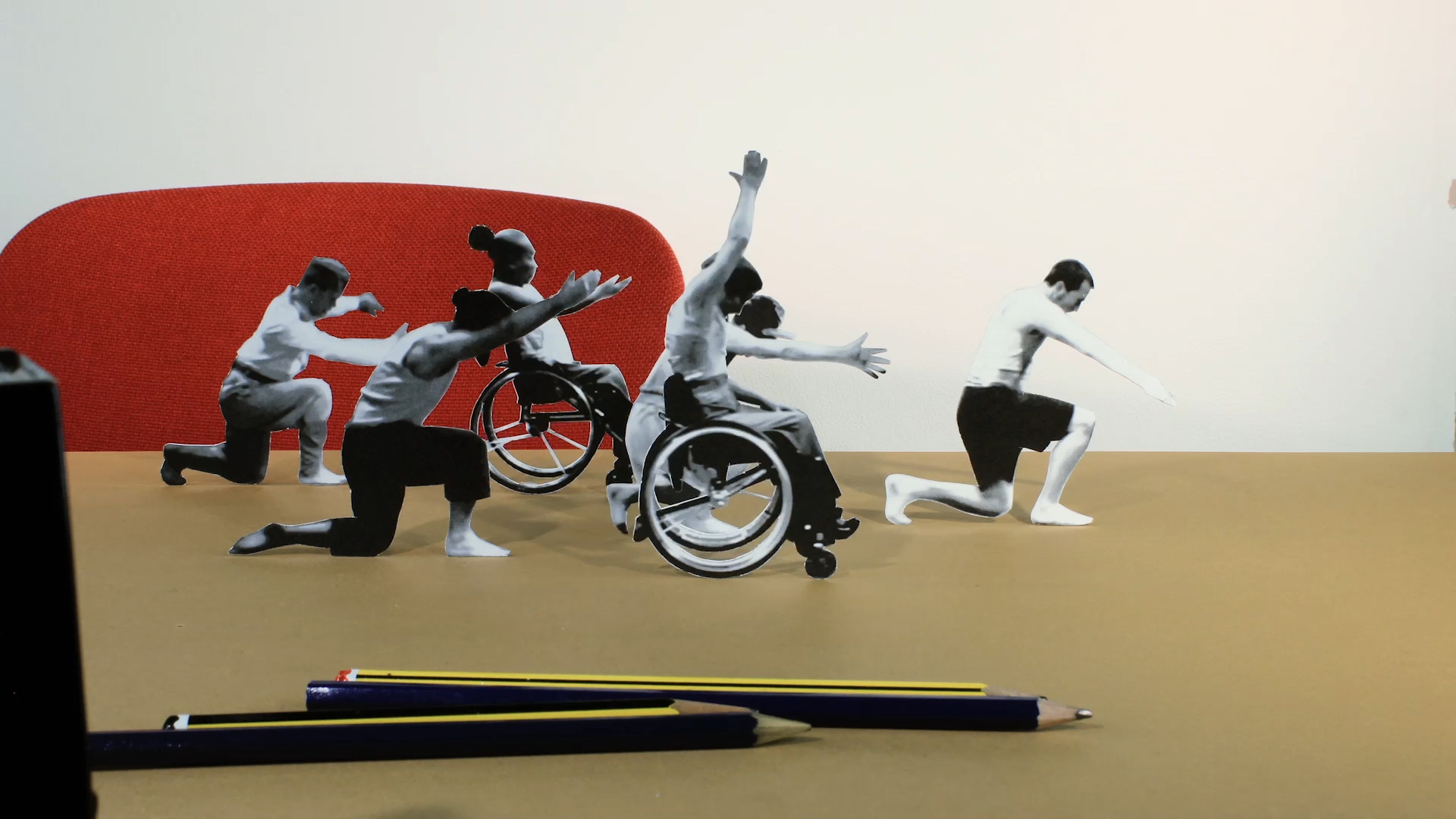 A closeup of a stop motion collage of a troupe of disabled and non-disabled dancers.