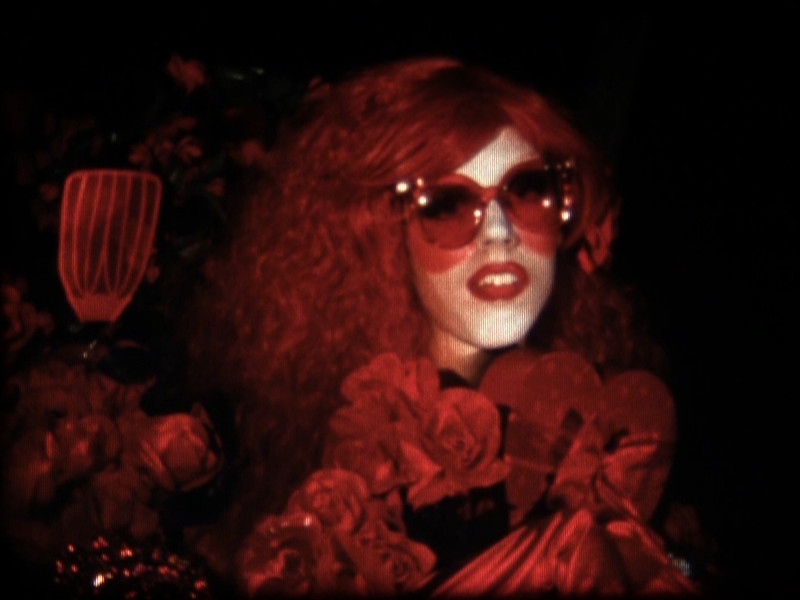 A person wears large red sunglasses, red lipstick, a red dress, and red gloves and holds flowers and a spatula.
