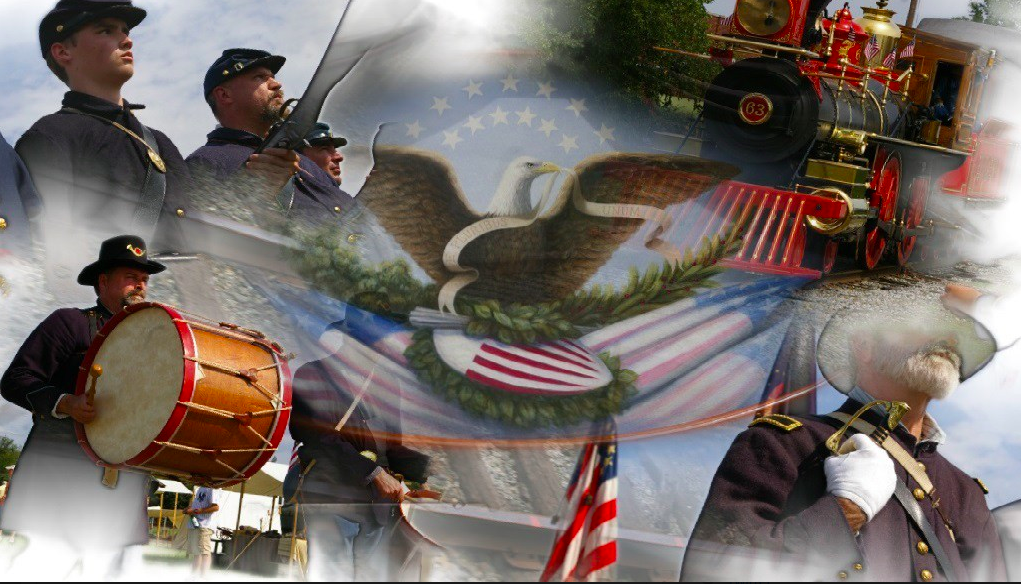 A montage of American war themed images overlay each other. A few men are in colonial war attire and play the drums. An old train is decorated with American flags. A faded eagle on an American flag is centered in the photo.