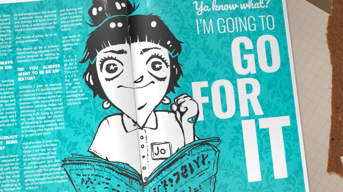 "An animated woman holds her hand raised and in a balled fist. She has short bangs, large eyes, and a button up short sleeve shirt. Next to her is text that reads, ""You know what? I'm going to go for it."""