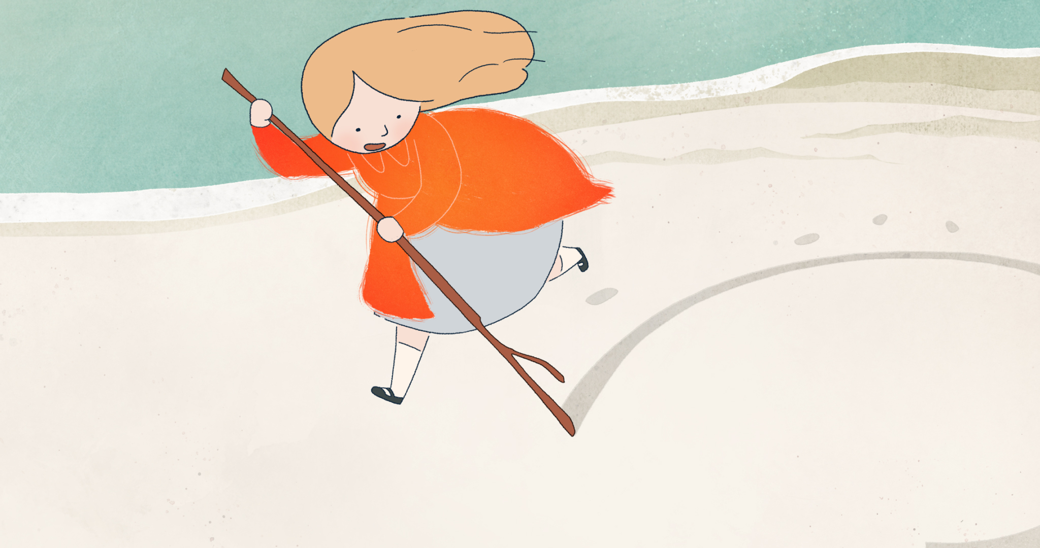 An animation of a young girl runs with a stick in hand along the beach and marks the sand with it. She wears a dress, knee high socks, and flat shoes.