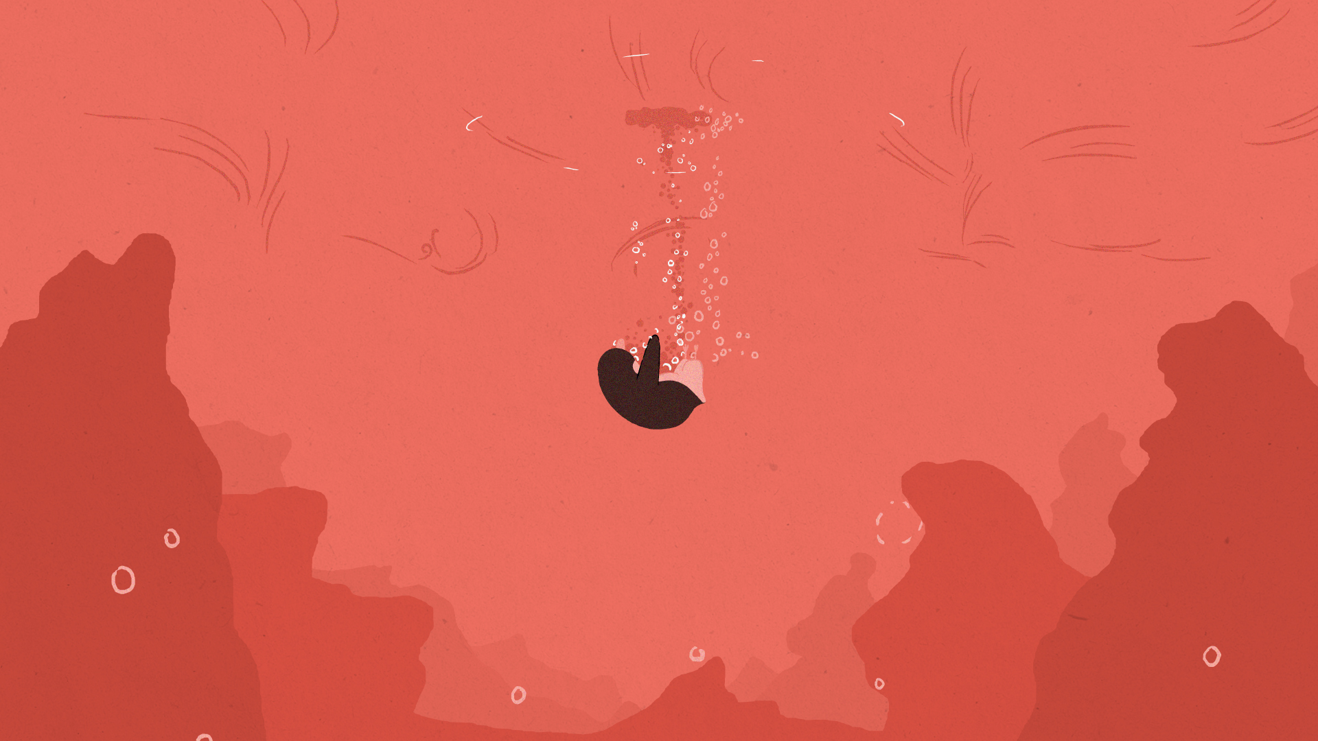 An animated penguin is sinking in a vast and empty ocean. There are bubbles forming above them.