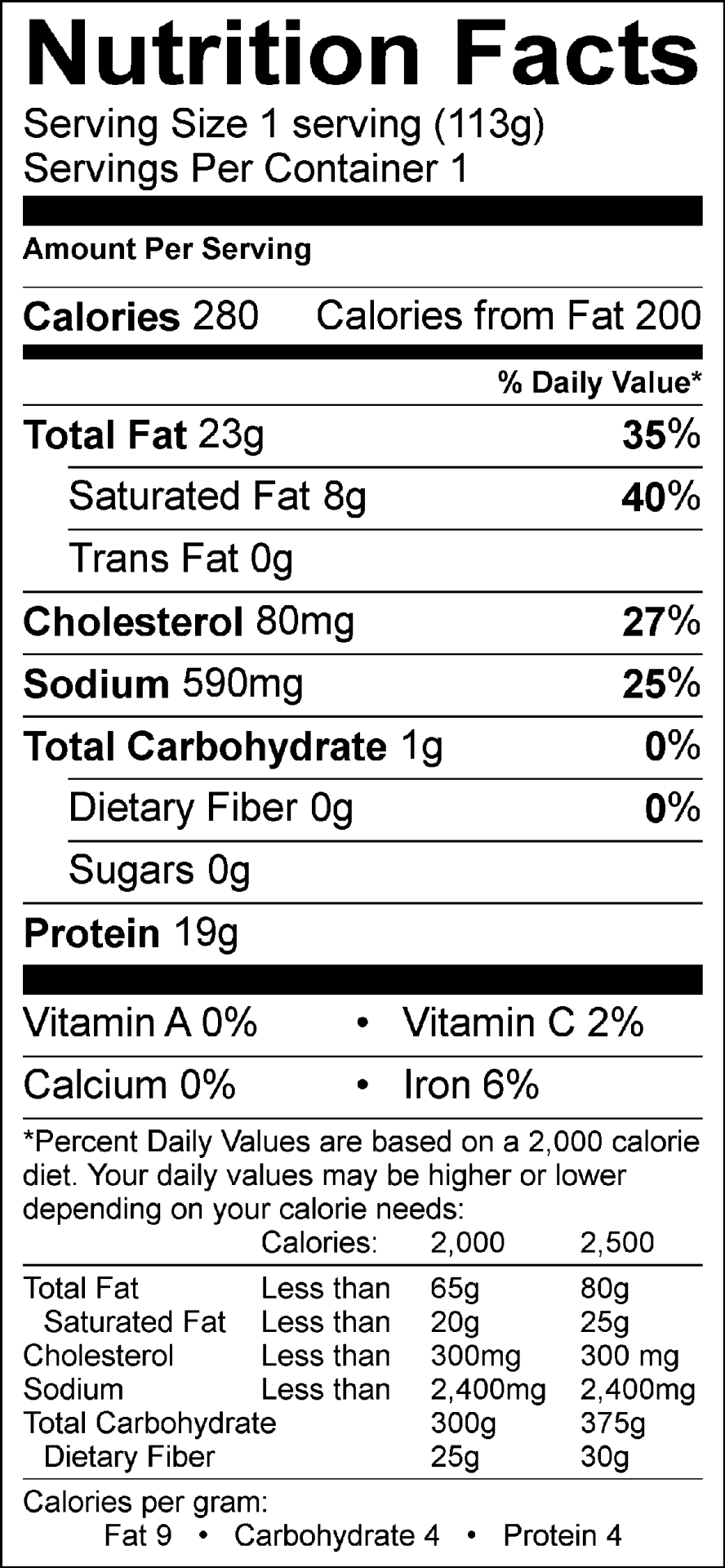 German Bratwurst Nutrition Facts       Ingredients : pork, salt, spices    Does not contain:  added water, sugar, corn syrup, fillers, or preservatives
