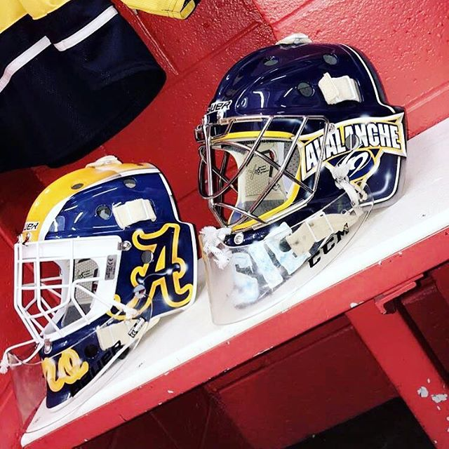 The Avs goalers  @_kevinrose_ and @mackalvino all geared up for the season....go get em boys  #goaliemask #custom #nhl #airbrush #art #instagood #live #love #maskart #bauer #ccm #vaughn #hockey #icehockey #goaltender #goals #goal #pads #gear #nj #royalessex #montclair  #puck #play #block #save #helmetart #helmet #custombike @bauergoalie #royalessexgoalie