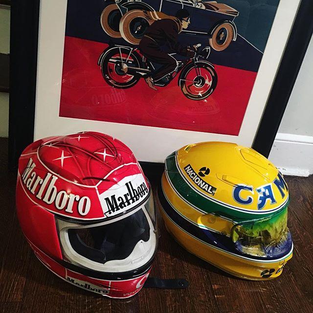 Two classics ready for their new owners • • • • • • • • #airbrush #paint  #f1 #schumacher #maarlboro #90s #senna #formula1 #honda #ferrari #camel #polo #nacional #hondaf1 #scorpionhelmets @scorpionexo #iconhelmets @iconmotosports #royalessexracing