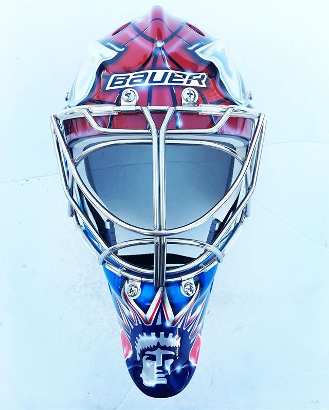 NY Ranger Spiderman mask done • • • • • • • #goaliemask #custom #nhl #airbrush #art #instagood #live #love #maskart #bauer #ccm #vaughn #hockey #icehockey #goaltender #goals #goal #pads #gear #nj #royalessex #montclair  #puck #play #block #save #helmetart #helmet #custombike @nyrangers @hank30nyr @msgnetworks @bauergoalie @bauerhockey @goaliesonly