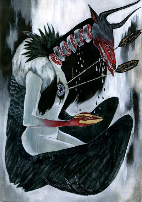 """LARVA MACROSOMA"" - WATERCOLOR, INK, ACRYLIC"