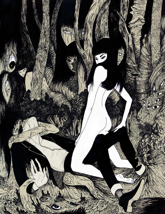 """""""TOMIE"""" - INK, DIGITAL. CHARACTER (C) JUNJI ITO. MADE FOR THE """"STRANGE PARADISE"""" ANTHOLOGY BOOK"""