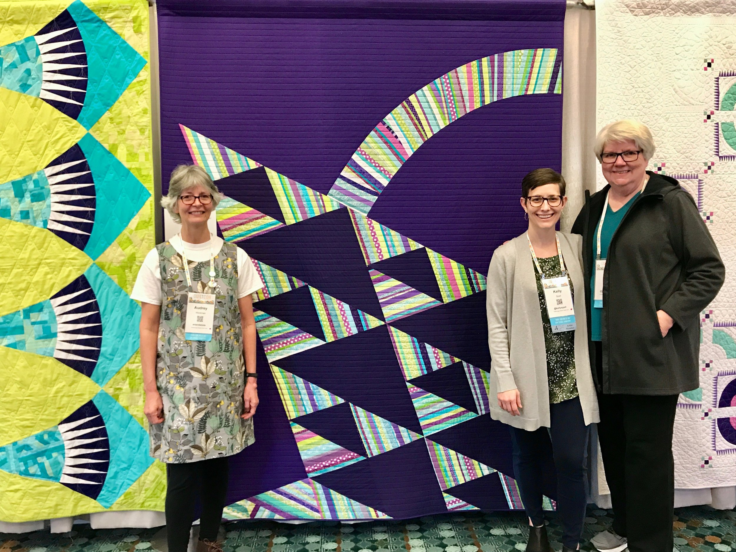 Audrey Workman, Jean Larson and me with ChattMQG's modern basket quilt.