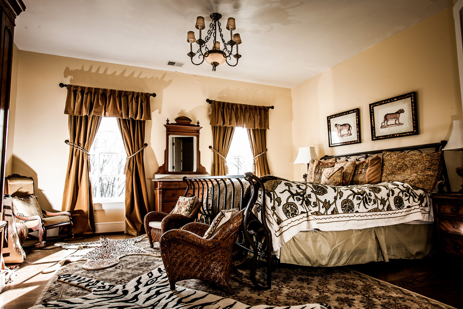 The Safari Room inside the estate is decorated in zebra and cheeta prints and boasts a safari theme throughout the entire room.