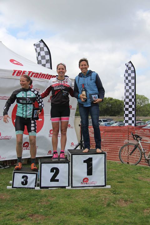 Overall female podium - Julie Baker, Jessie Koltz, and me. Good job I'd been working on some stability as the podium step sure was wobbly!