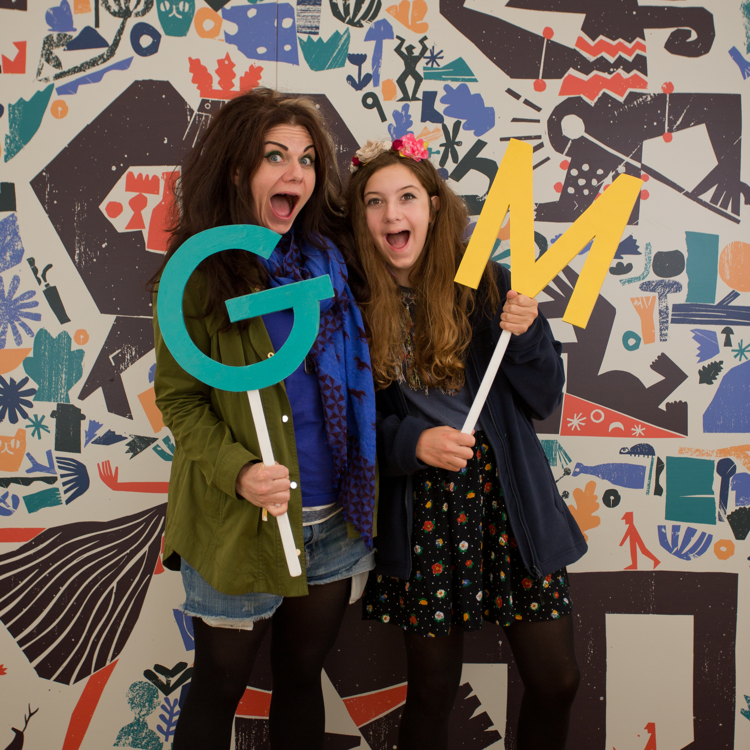 Caitlin Moran and her daughter backstage at Green Man Festival