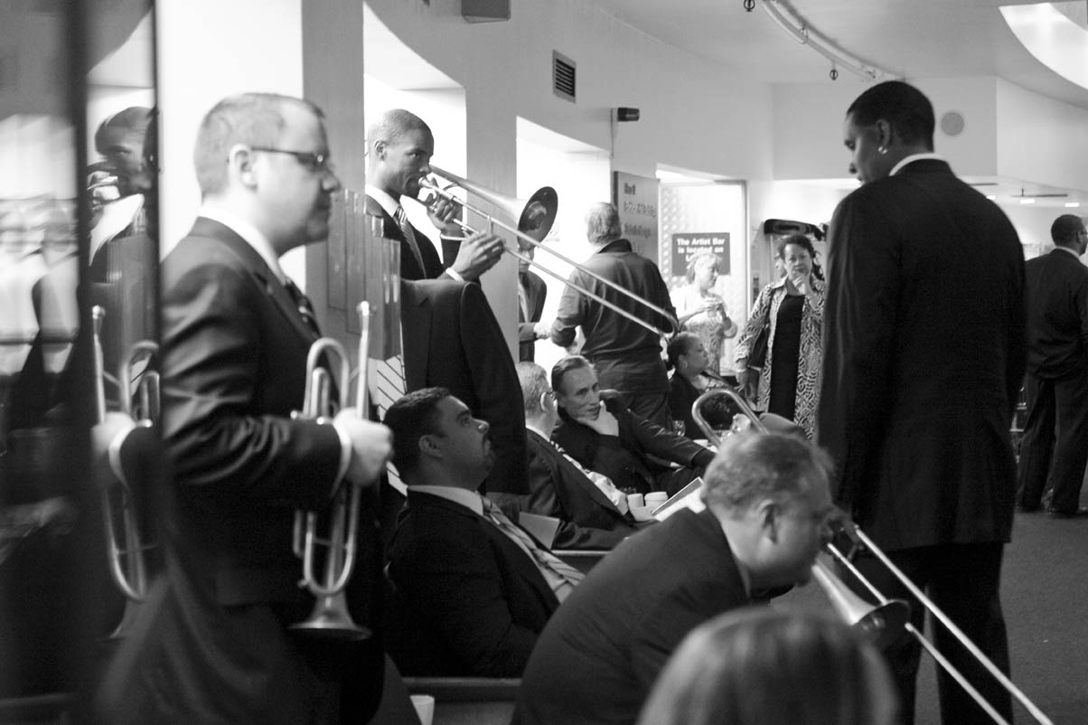 Members of The Jazz at Lincoln Centre Orchestra backstage at the Barbican