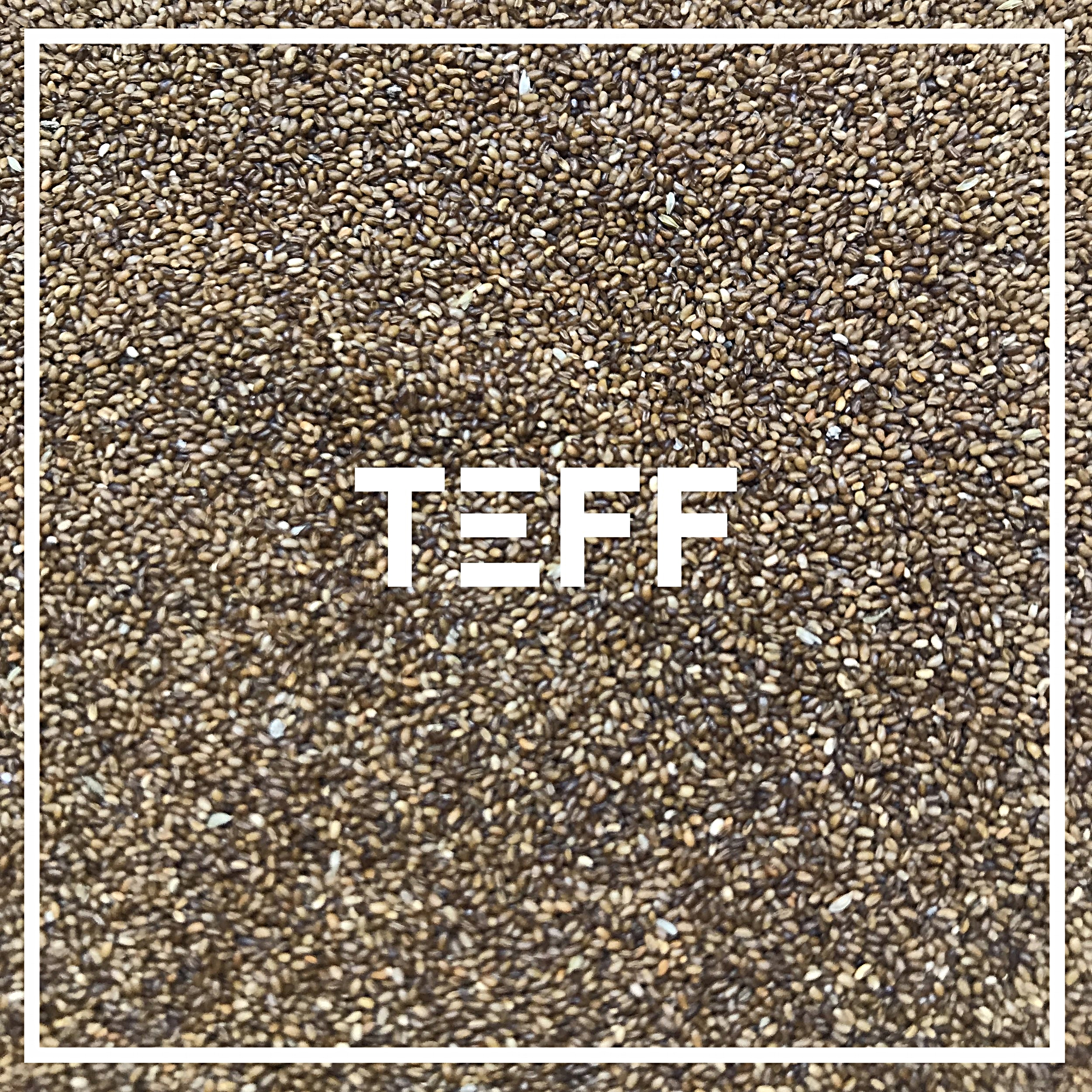Our Teff is grown in the snake river valley of Idaho, by  Maskal Teff.  Founded by Wayne Carlson, the first person to successfully grow Teff in the United States.   Used in: 1776   Teff, a small seed, is the staple grain of Ethiopia; typically made into sour, spongy Injera bread. Devilishly difficult to harvest, we're glad they've mastered it in Idaho. We use un-milled, whole grain teff seeds for a delicate crunch, rich buttery flavor, and incredible nutritional value.