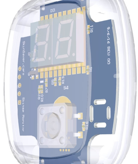 The new sensor device for monitoring drying stresses on skin includes a high accuracy humidity and temperature sensor, coin cell battery, microprocessor, LED display, and tactile switch in a compact design.