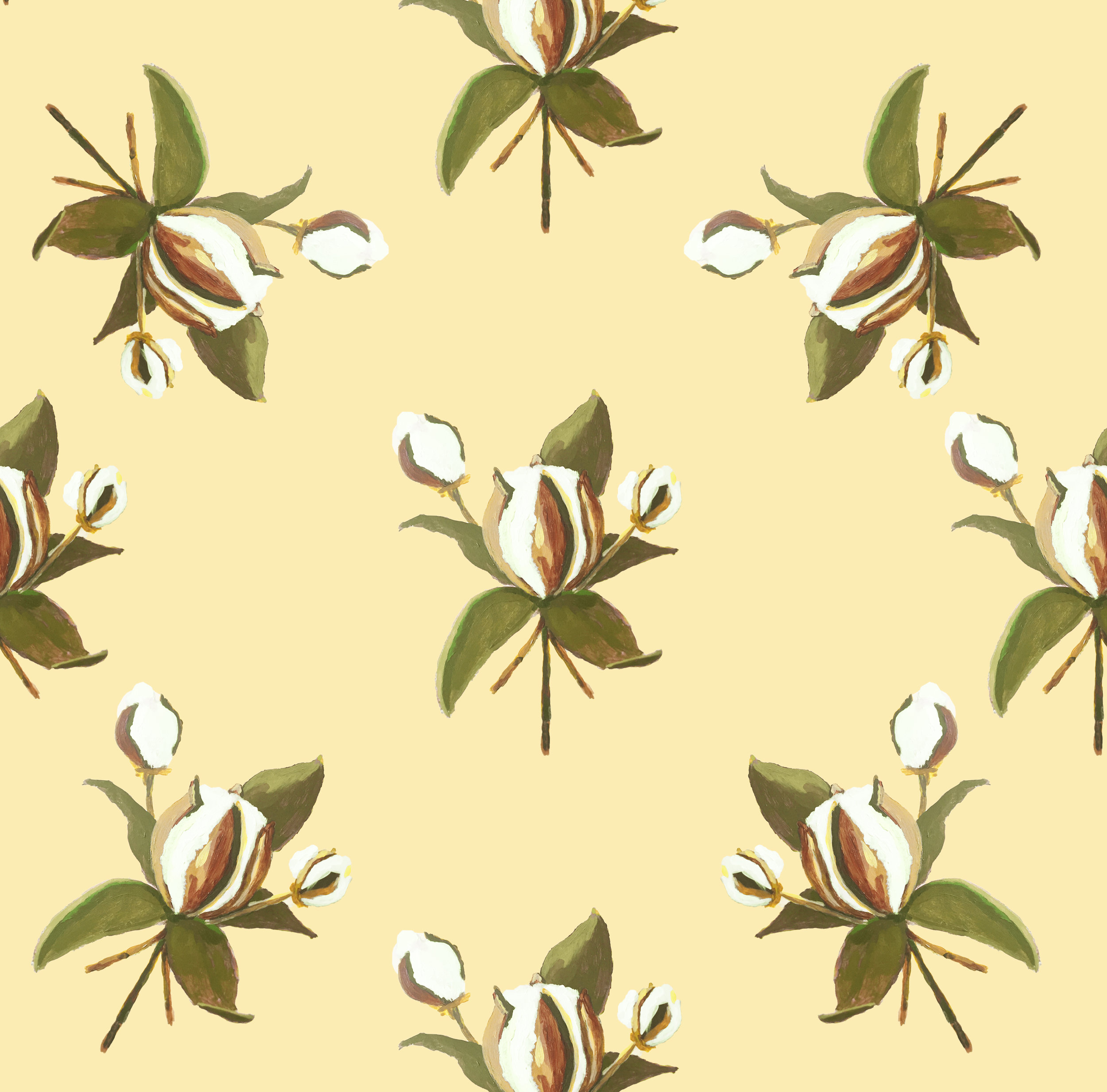 "Title: Cotton & Magnolia (Wallpaper) Artist: Jon Key Year: 2016 Medium: Digital print of painting Dimensions: 24"" x 108"" Price: $250/roll, edition of 100"