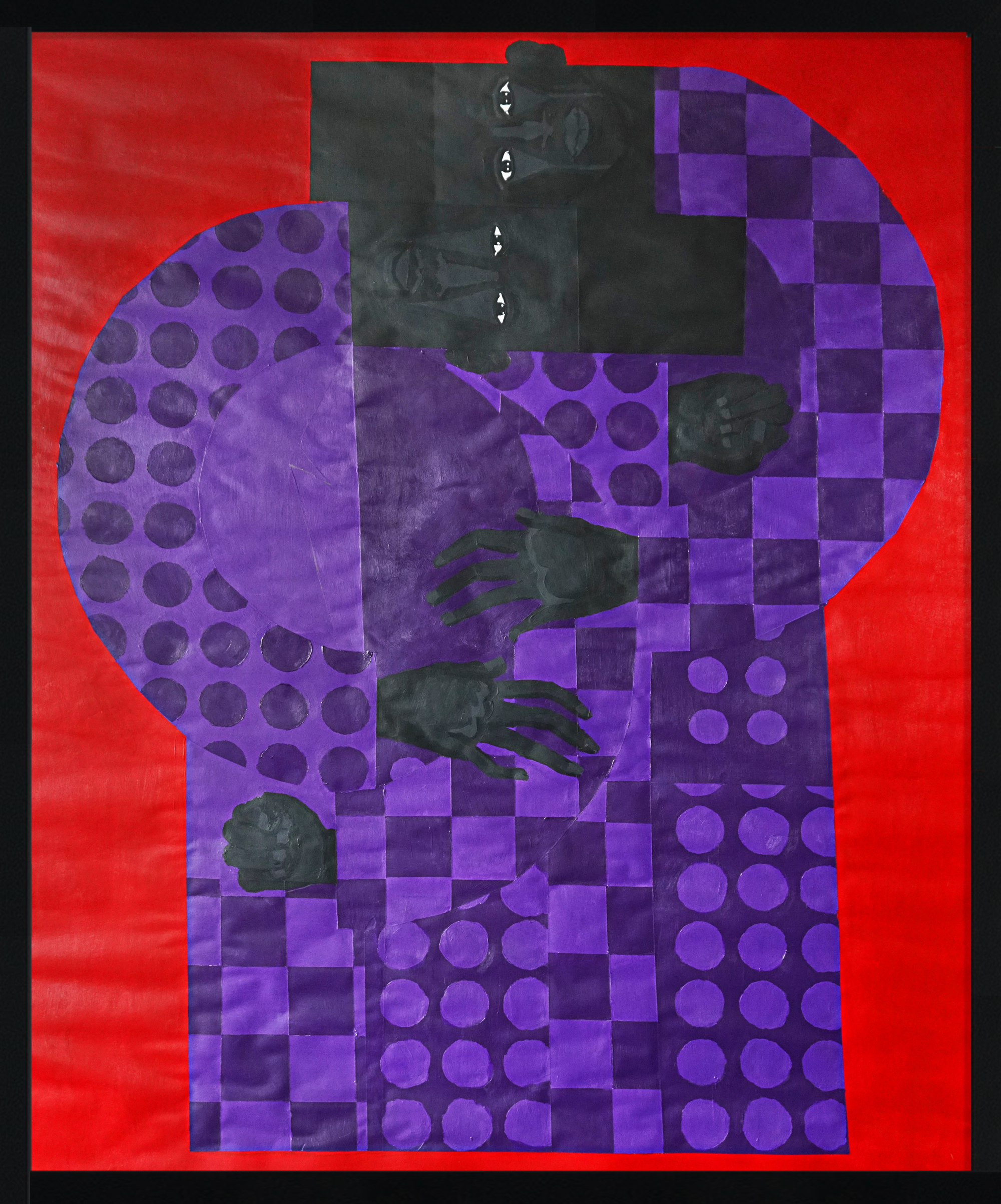 "Title: The Twins in the Violet Suit No.2 Artist: Jon Key Year: 2018 Medium: Acrylic on paper Dimensions: 46"" x 35"" Price: $3800"