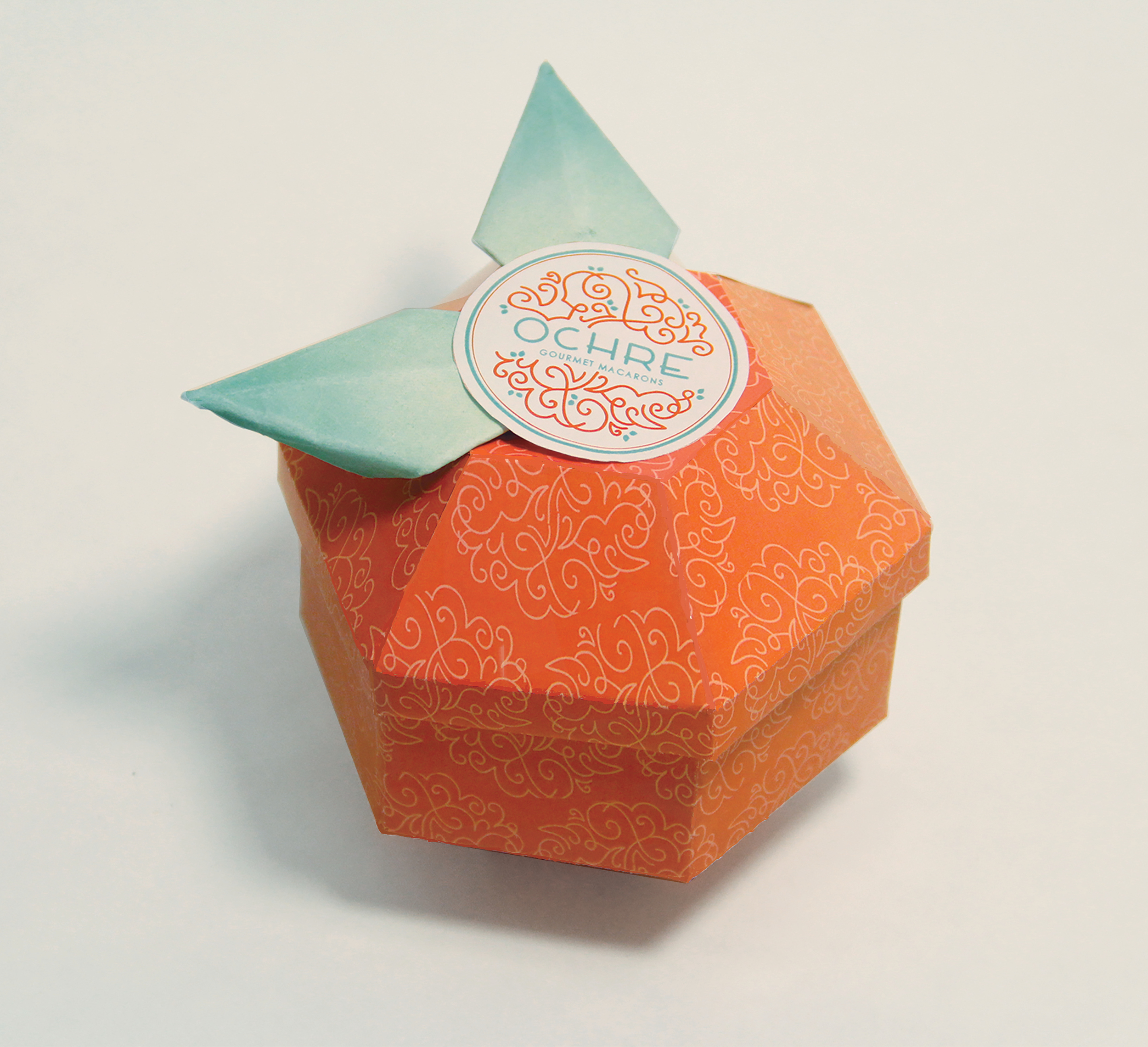 Exterior of packaging for Ochre Macarons