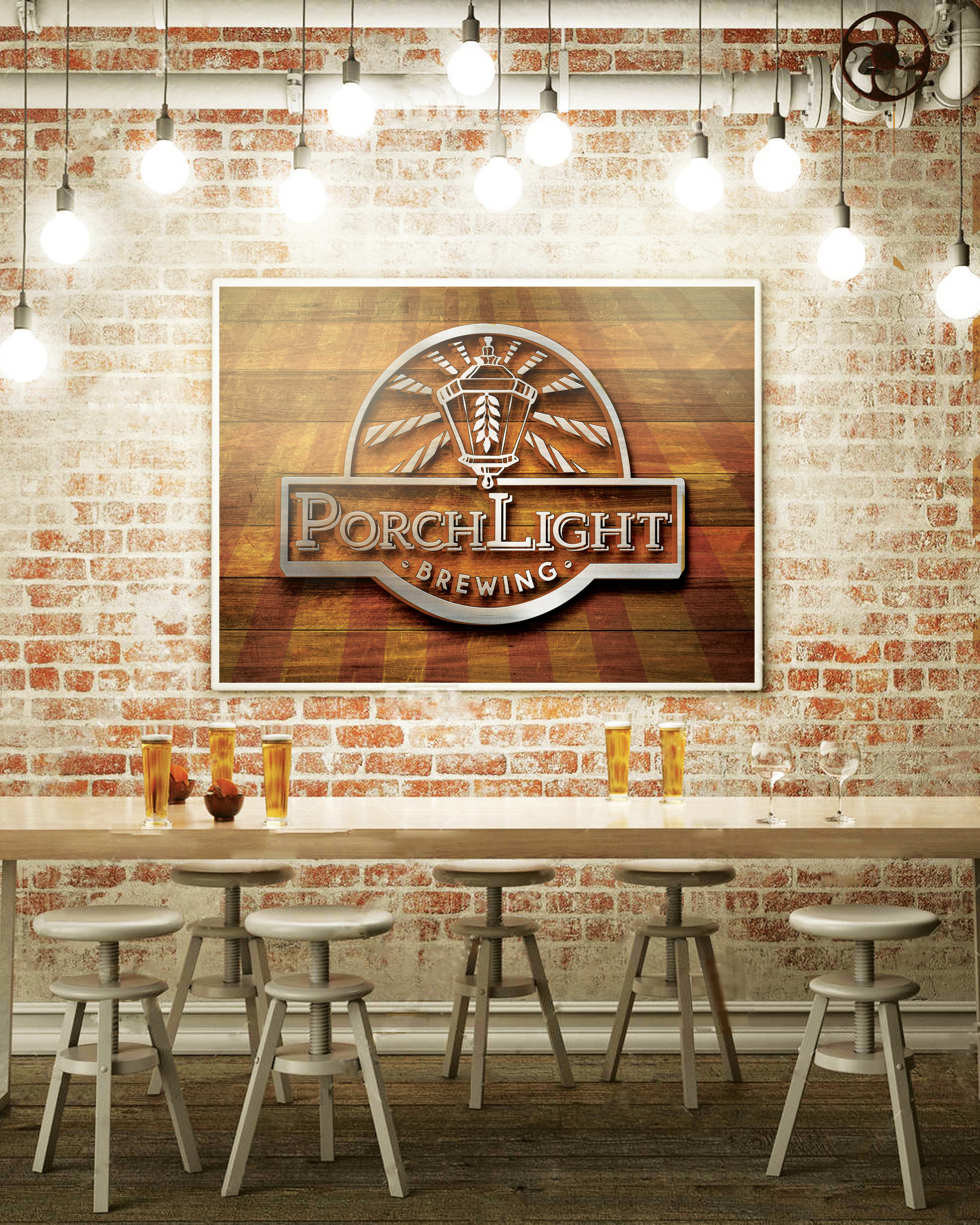 PorchLight Brewing Co. Wall Signage Design