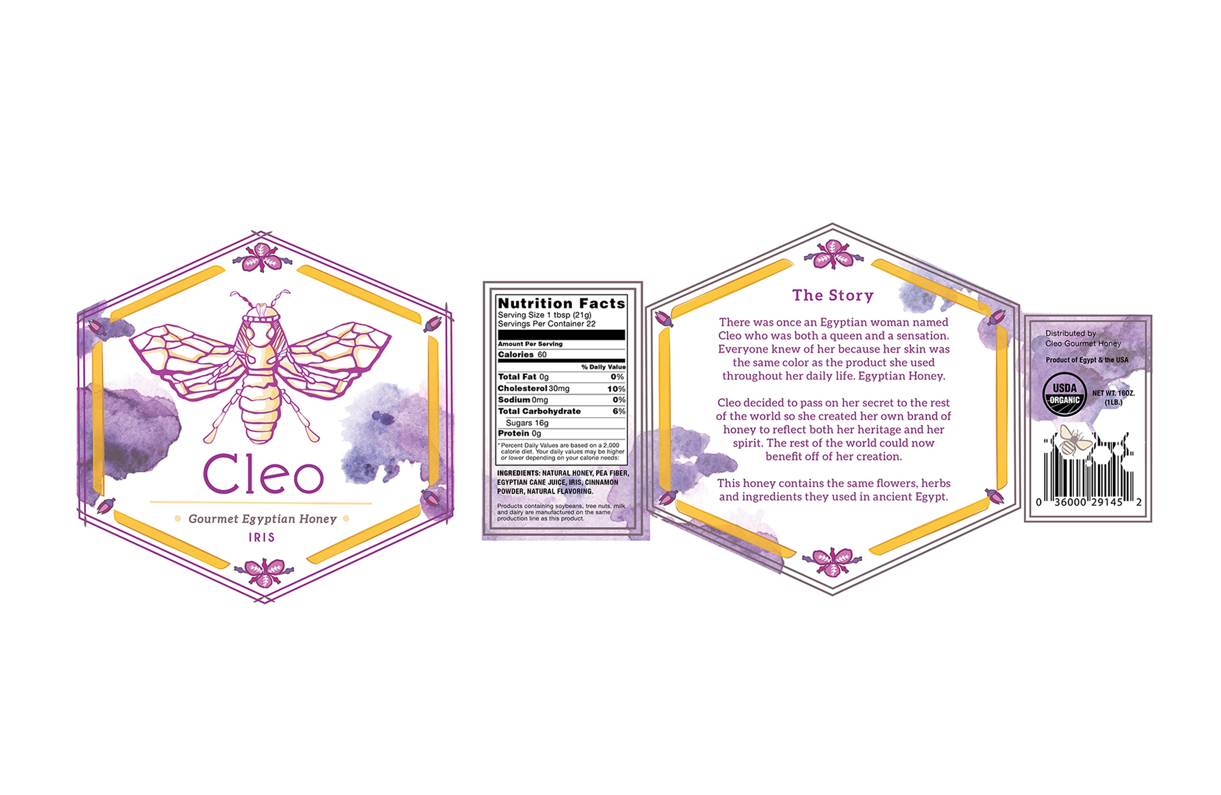Flat Labels for Cleo Honey