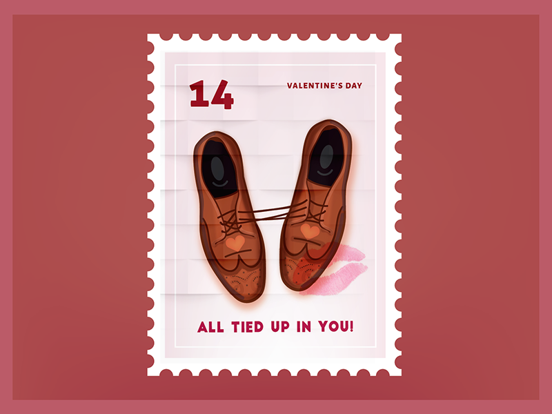 All Tied Up In You Valentine Stamp