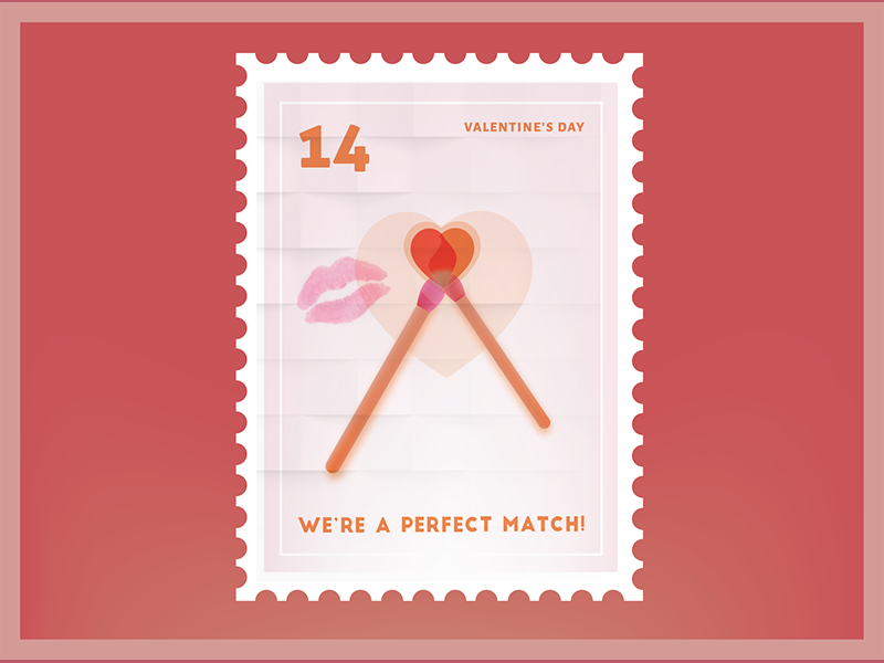 We're a perfect match Valentine Stamp