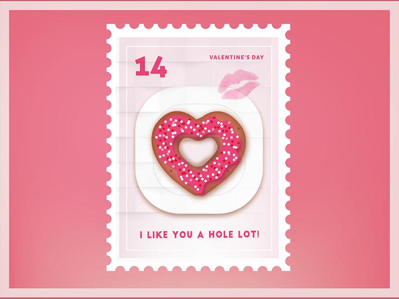 I like you a hole lot Valentine Stamp