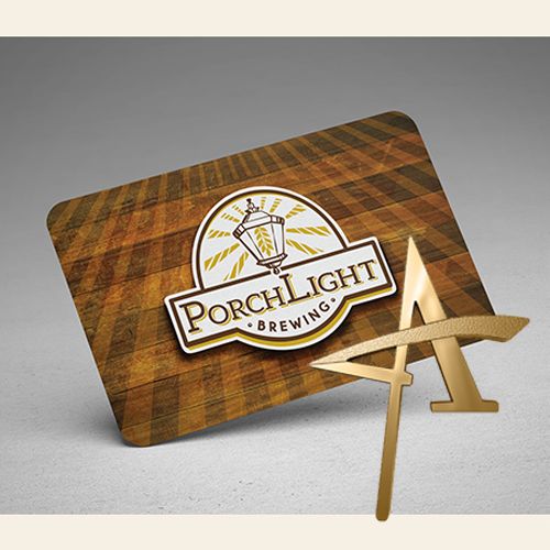PorchLight Brewing Co. Business Card Design Gold Addy Award
