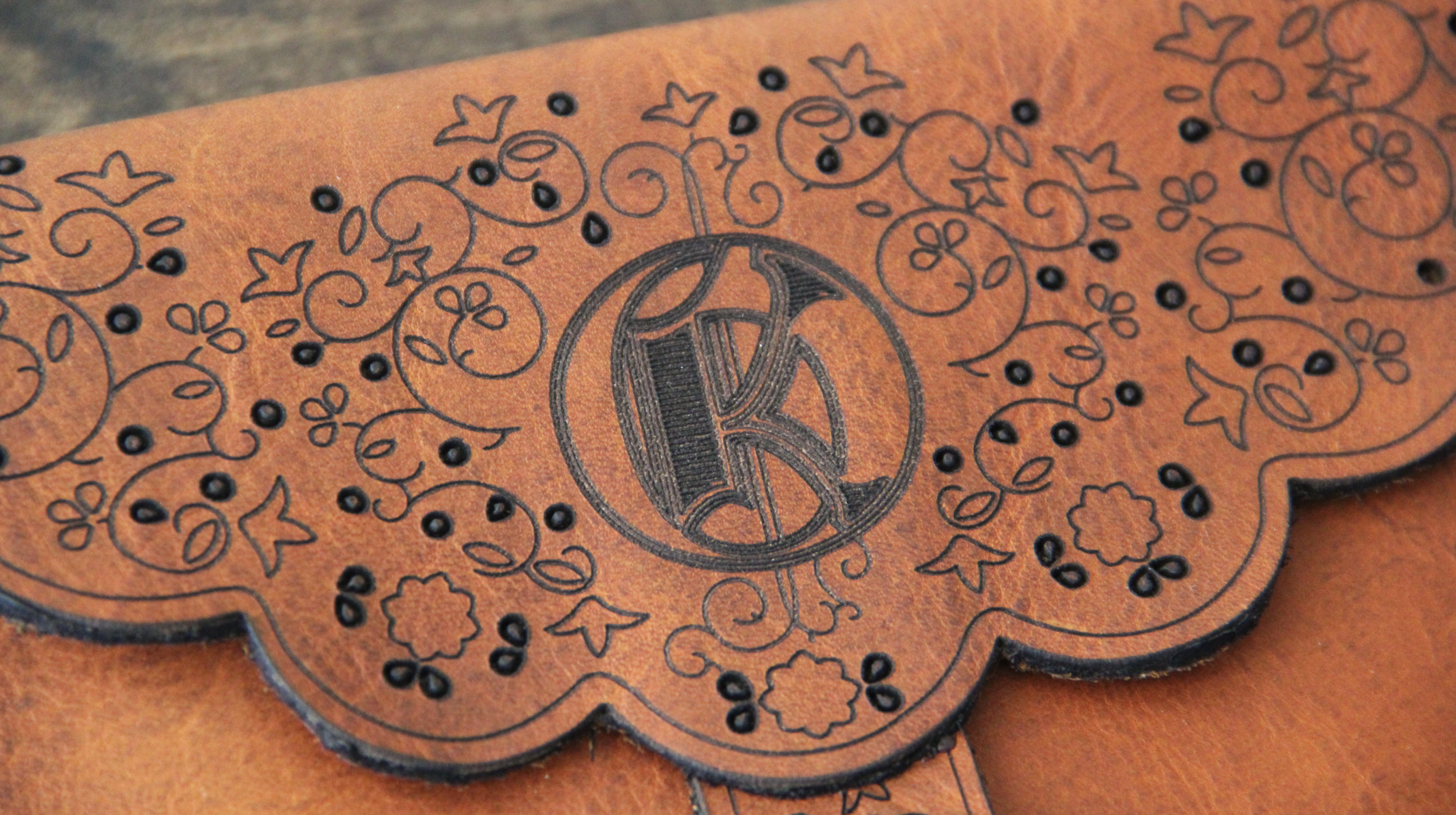 Laser Cut Wallet Close up