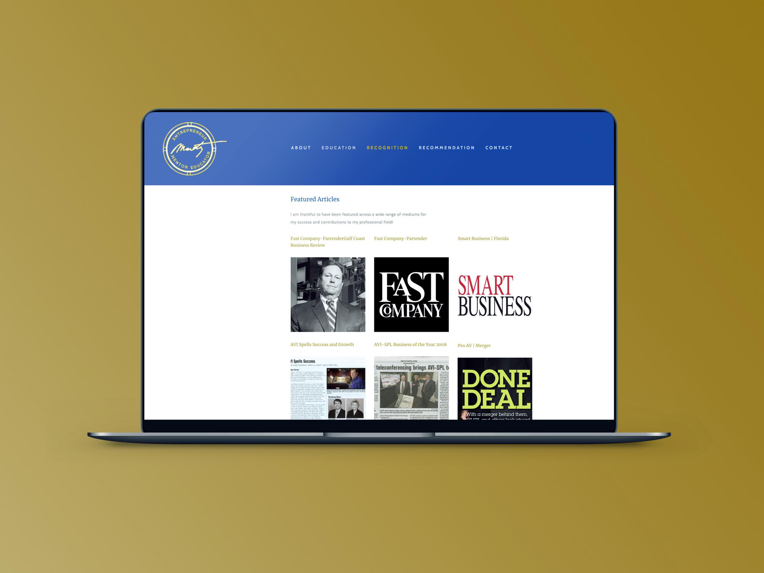 Martin Schaffel website design.