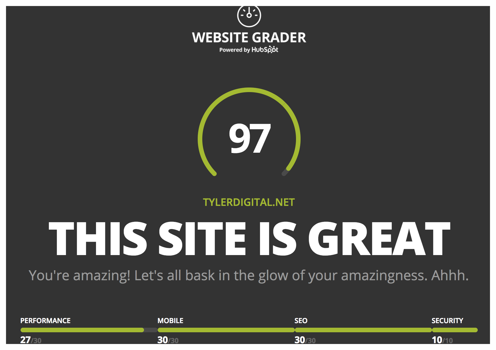Click for a Website Grader review from Hubspot.