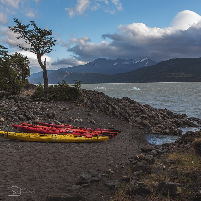 Preparing to paddle up to #glaciergrey in #torresdelpaine. All you need is a sense of adventure and a couple of hours.