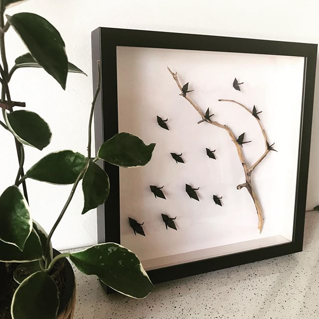 // SOMETHING DIFFERENT //⠀ Every now and then I get an idea in my head and I can't shake it until I give it a go... ⠀ ⠀ I found the most amazing branches on a recent trip up north of WA. I wanted to use them somehow incorporating cranes. ⠀ ⠀ Black birds. What do you think ?
