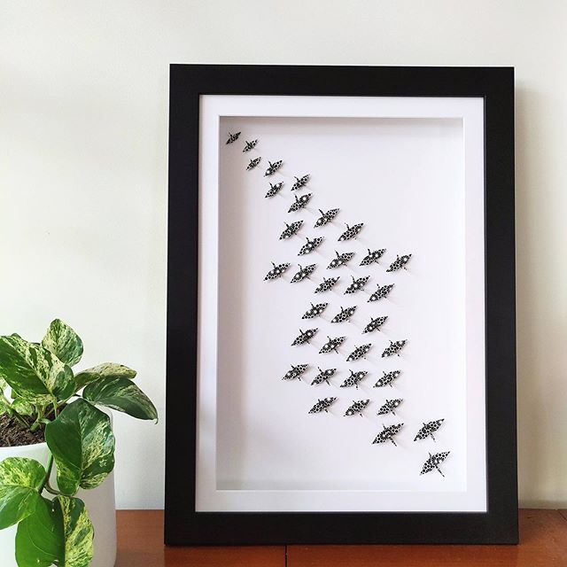 // FLOCKS // A larger example of our 'flock' arrangement. A collection of cranes moving together in the same directions.  We style these pieces in offices or bedrooms. They are daily reminders of movement. Whether it's to work towards a collective goal or  to simply remind you to get out of bed each day and chase that dream.  Take that step. It's starts there.  Pieces just like this one and many others will be available for purchase next Saturday 19th October at Perth @artupmarket
