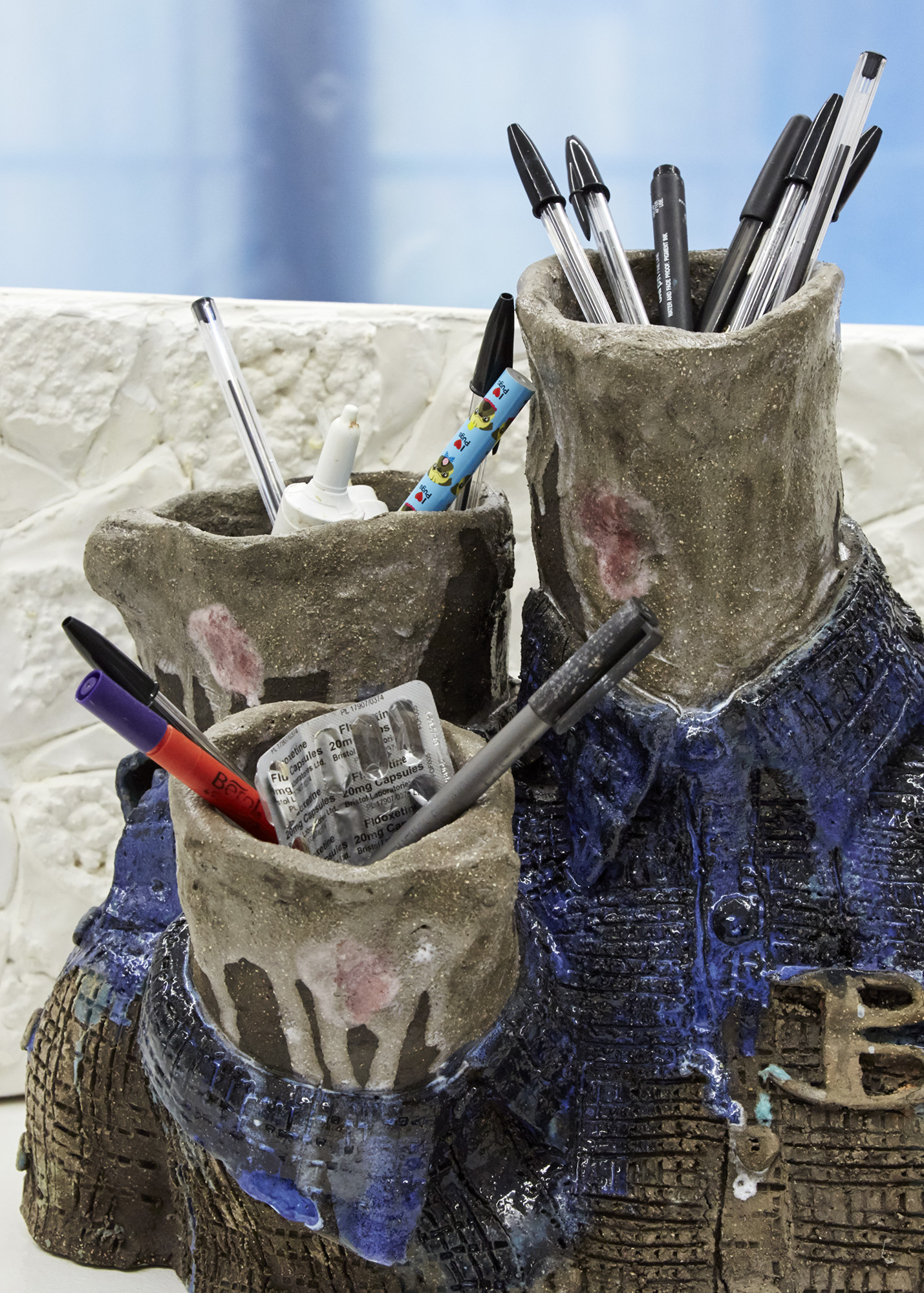 Love bites (detail) Glazed ceramic, studio pens, tampons, fluoxetine and First Defence 38 x 46 x 24cm, 2019