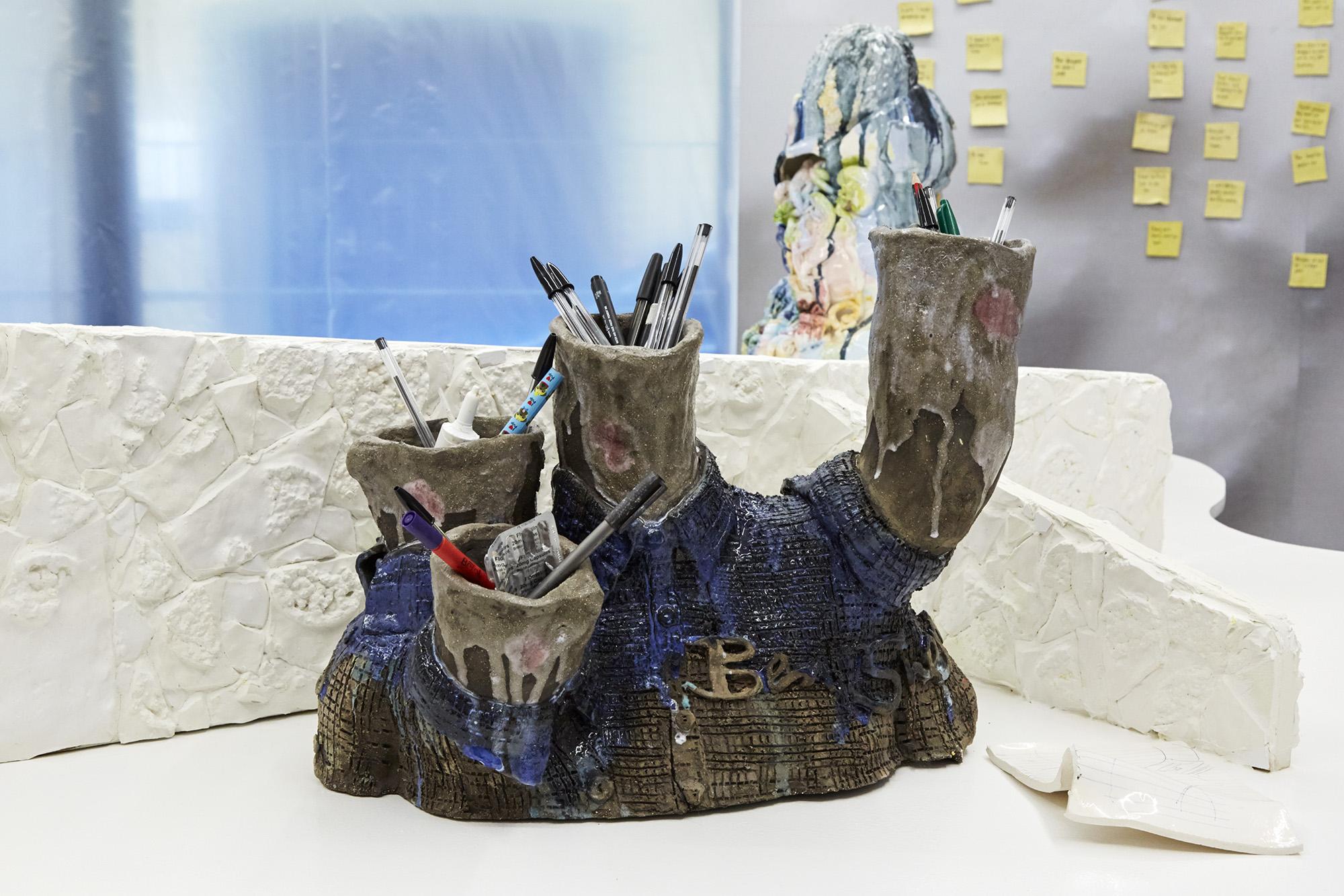 Love bites Glazed ceramic, studio pens, tampons, fluoxetine and First Defence 38 x 46 x 24cm, 2019